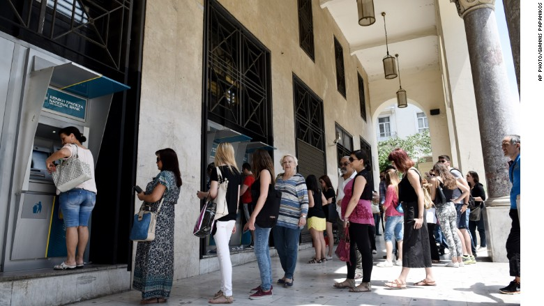 greek banks atm line