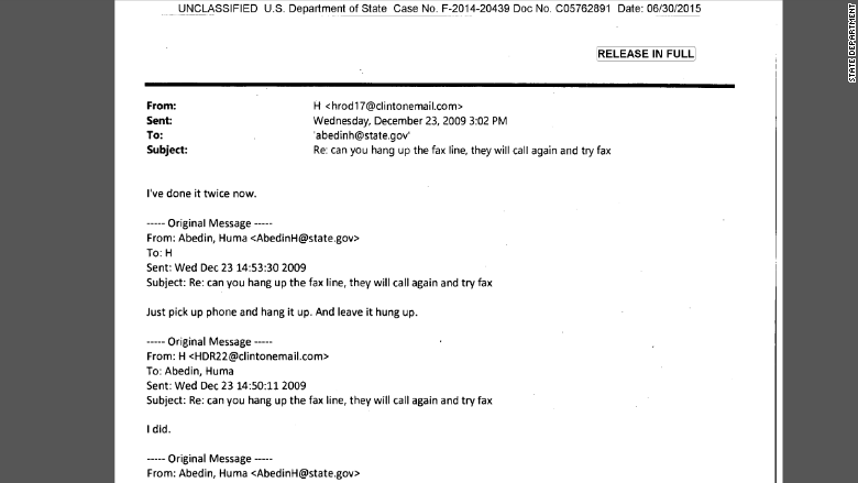 clinton fax email