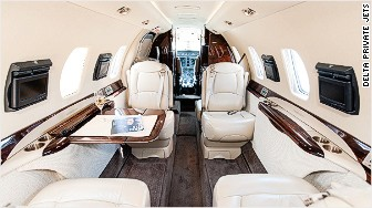 Delta private jet interior