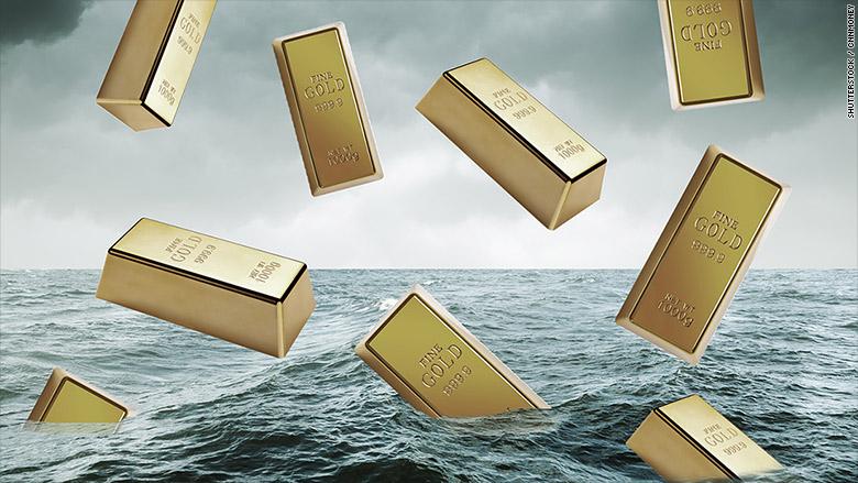 gold bars falling