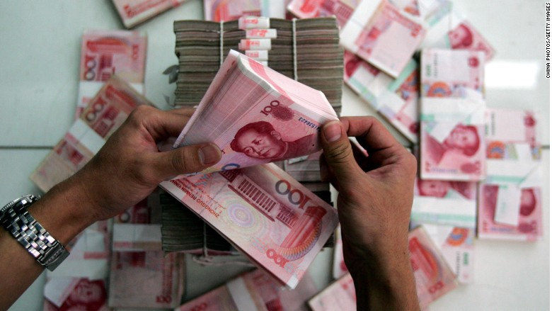 China taps into foreign currency reserves at a slower pace