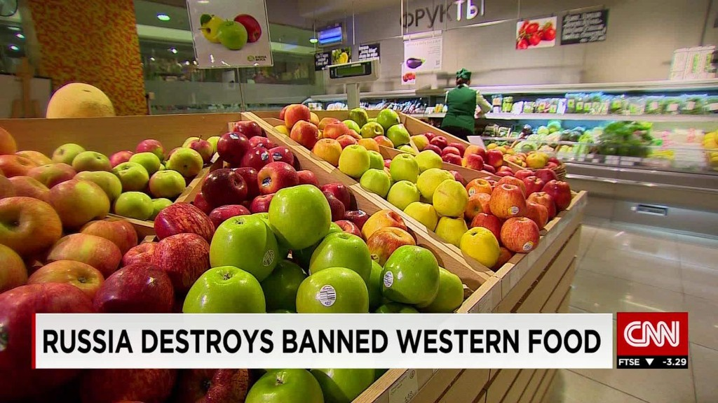 Russian authorities burn banned food