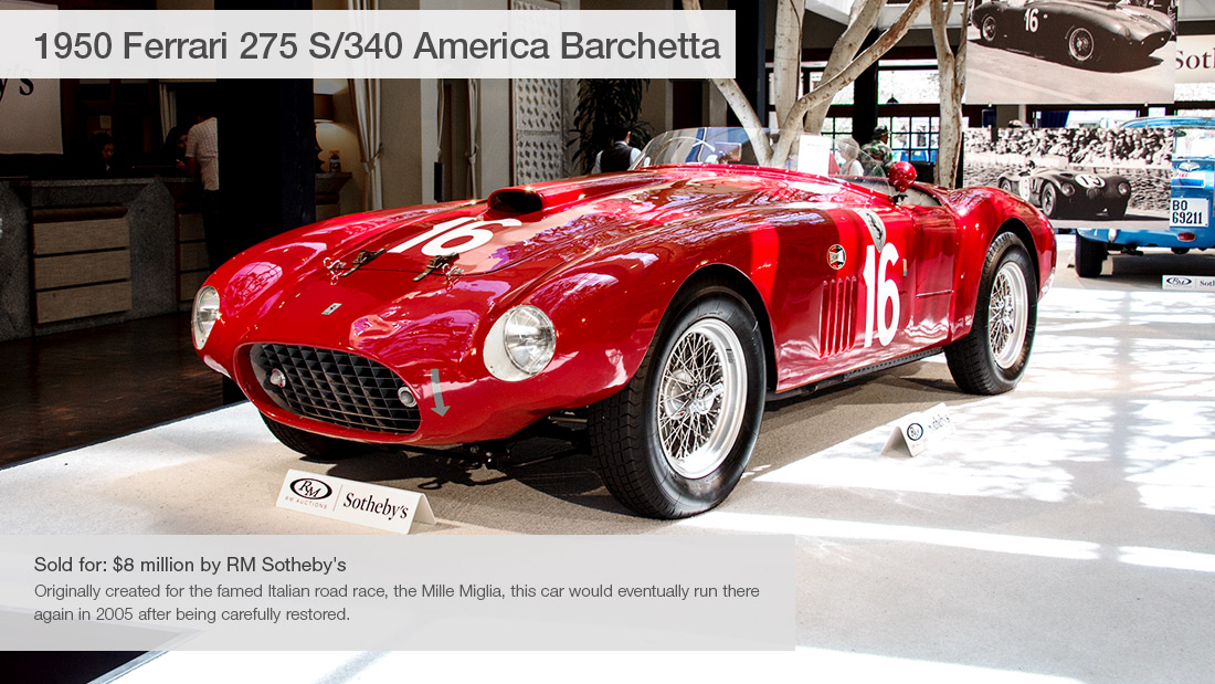 1950 ferrari 275 s 340 america barchetta 10 most expensive cars sold at pebble beach auctions. Black Bedroom Furniture Sets. Home Design Ideas