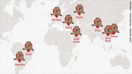 Stocks in 9 countries meet the scary bear