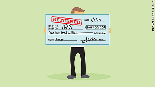 Sorry. IRS no longer accepting $100 million checks