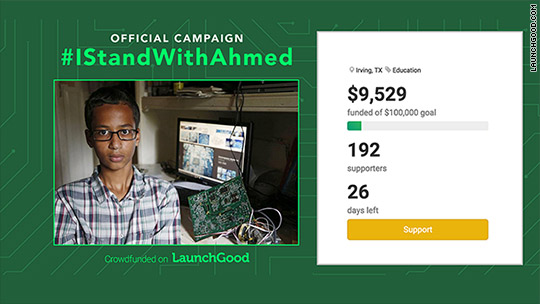 Money pours in for Ahmed Mohamed, teen arrested for homemade clock