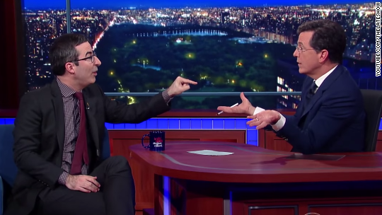 John Oliver to Colbert: 'I couldn't give less of a s***' about Trump