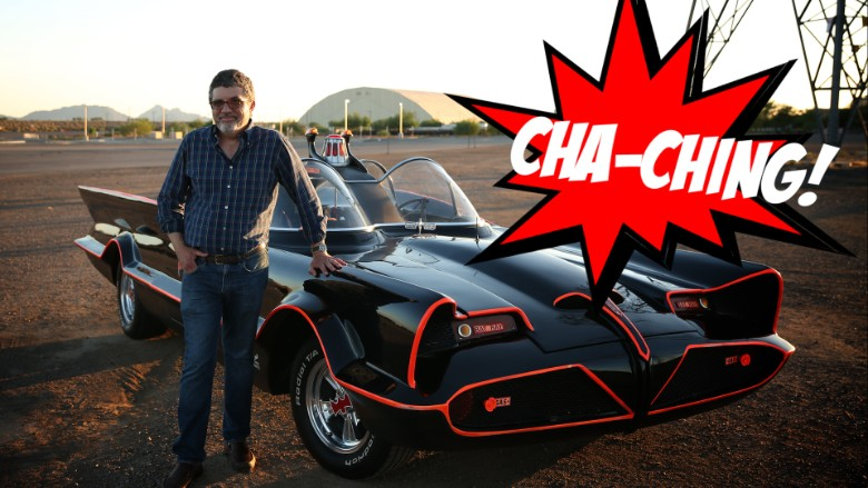 Batmobile and Peter cha-ching gfx