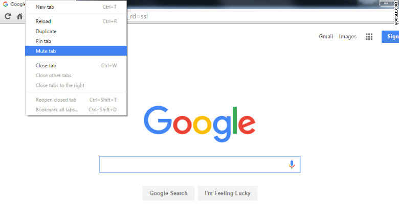 google chrome mute