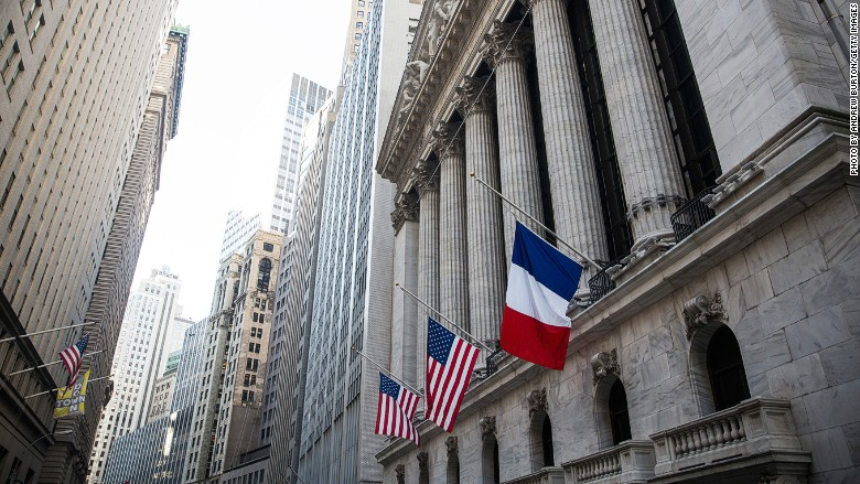 'NYSE Wall Street Paris attacks' from the web at 'http://i2.cdn.turner.com/money/dam/assets/151116110724-nyse-wall-street-paris-attacks-780x439.jpg'
