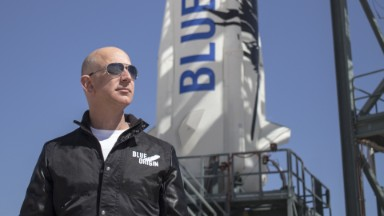 Jeff Bezos launches a rocket...and lands it