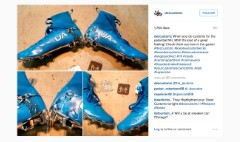 Cam Newton dabs in new Under Armour cleats