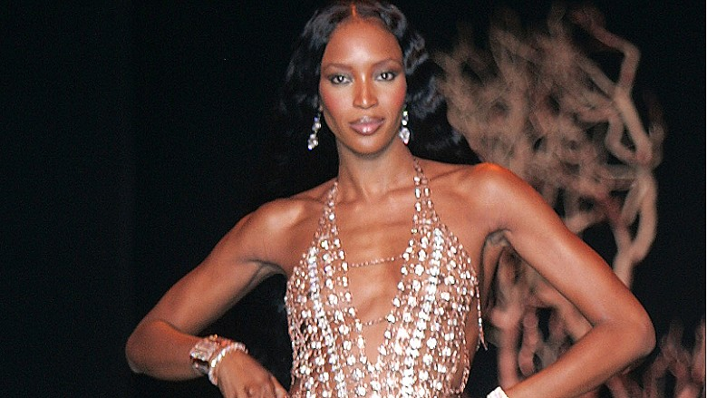 NEW YORK CITY, NY - SEPTEMBER 12: Model Naomi Campbell walks the runway for the Chris Aire show during Olympus Fashion Week Spring 2005 in Bryant Park September 12, 2004 in New York City. (Photo by Scott Gries/Getty Images)