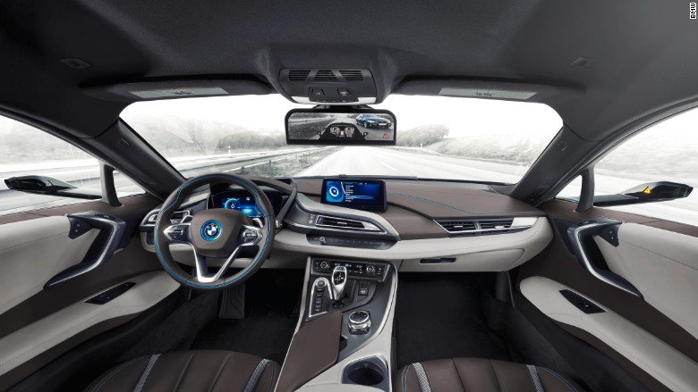 bmw i8 concept car interior mirrorless ces 2016