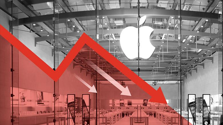 apple stocks falling