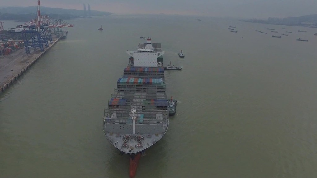 On board the giant container ship headed from China to the U.S.