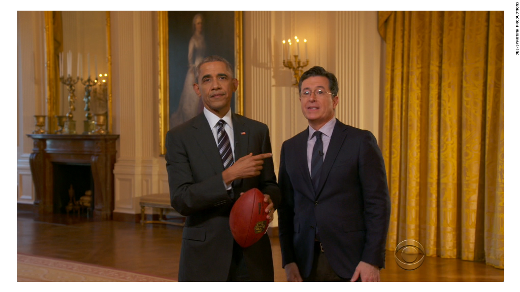 "Watch Obama kick off post-Super Bowl ""Late Show"""