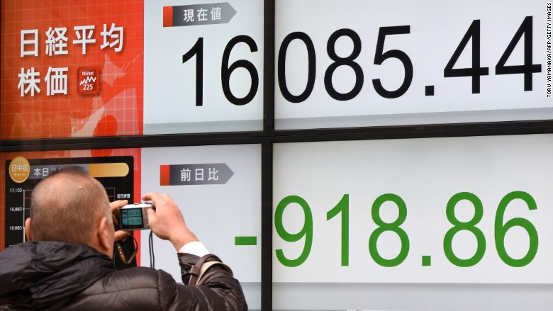 Japan stocks plunge as investors flee to bonds