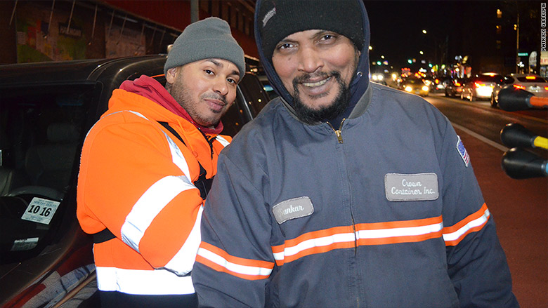 garbage truck guys smiling