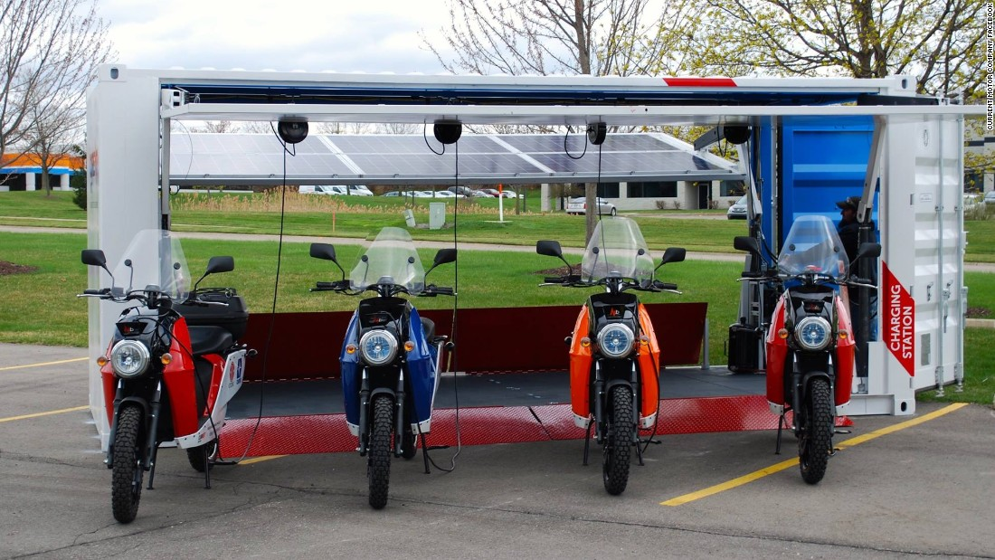 A Fleet Of Solar Powered Motorcycles In A Box Energy