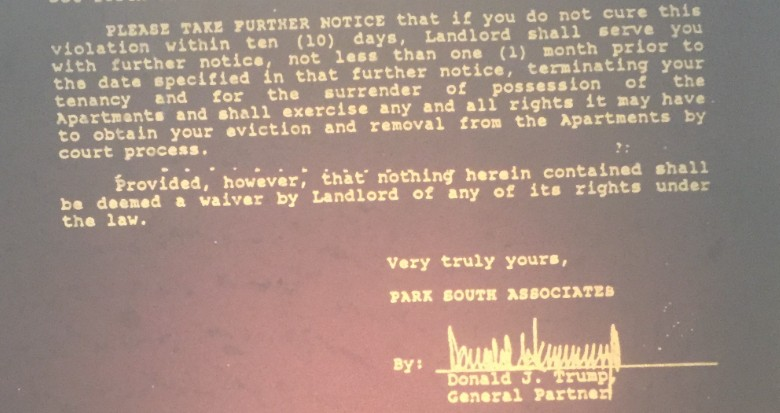 Donald Trump eviction threat