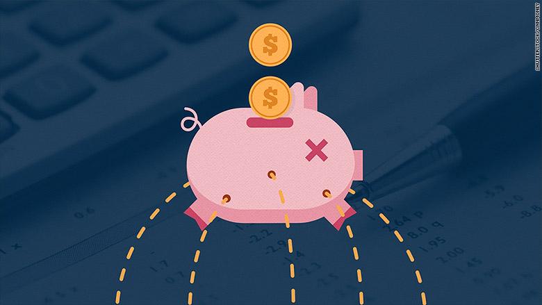 money leaking piggy bank