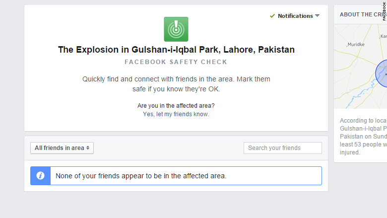 Facebook Safety Check for Pakistan malfunctions