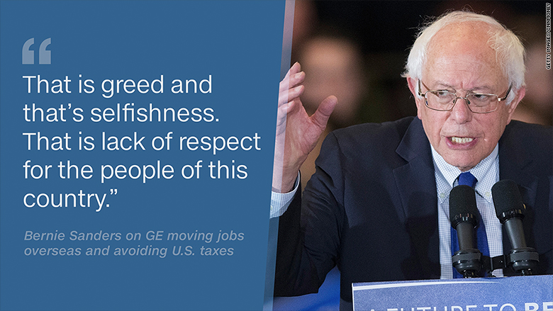 bernie sanders general electric greed