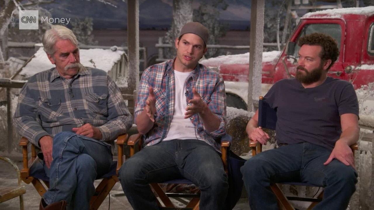 "Stars of ""The Ranch"" Ashton Kutcher, Danny Masterson, and Sam Elliott ..."