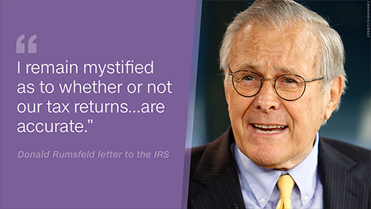 Donald Rumsfeld rants about tax code madness