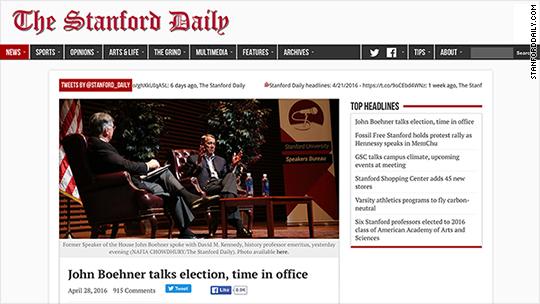 Stanford Daily enjoys record traffic from John Boehner 'Lucifer' scoop