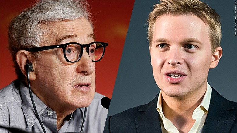 ronan farrow to media who ignore woody allen allegations time for  woody ronan split