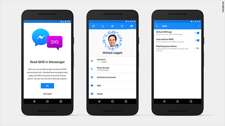 Facebook Messenger can now send SMS text messages