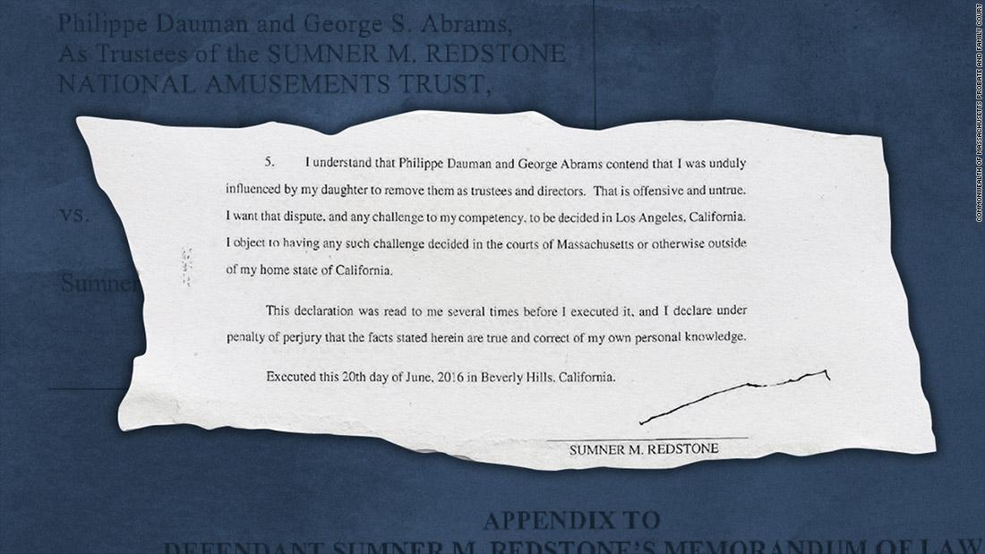Sumner Redstone's illegible signature looms over Viacom drama
