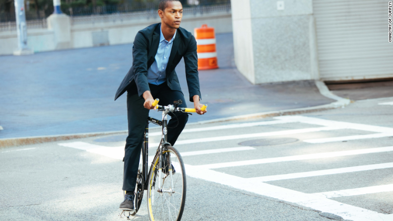 Biking to work in a NASA-inspired dress shirt
