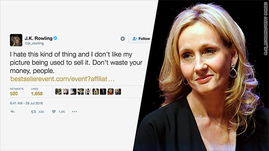 J.K. Rowling slams site for using her image in sales pitch