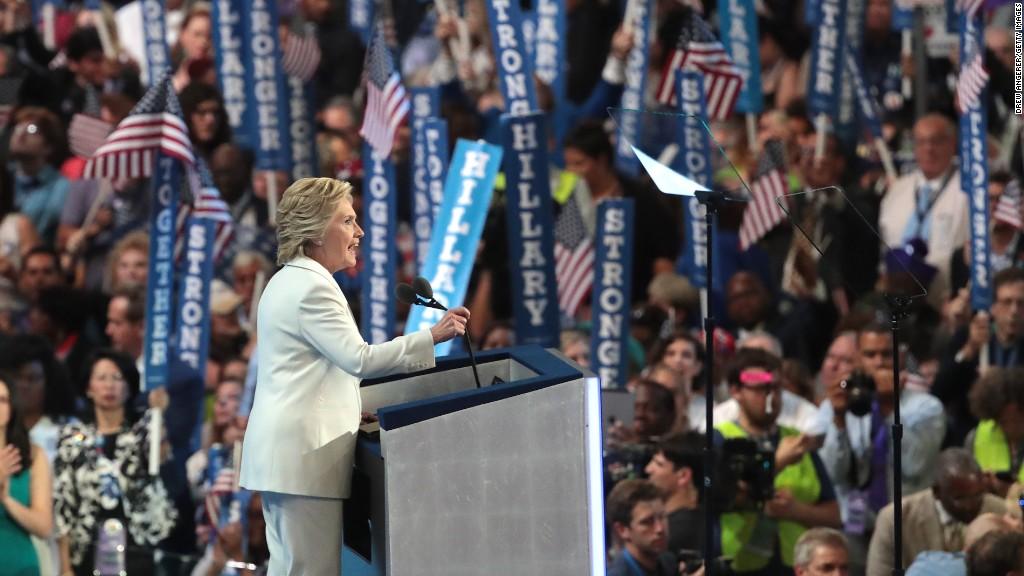 Key moments in Hillary Clinton's acceptance speech
