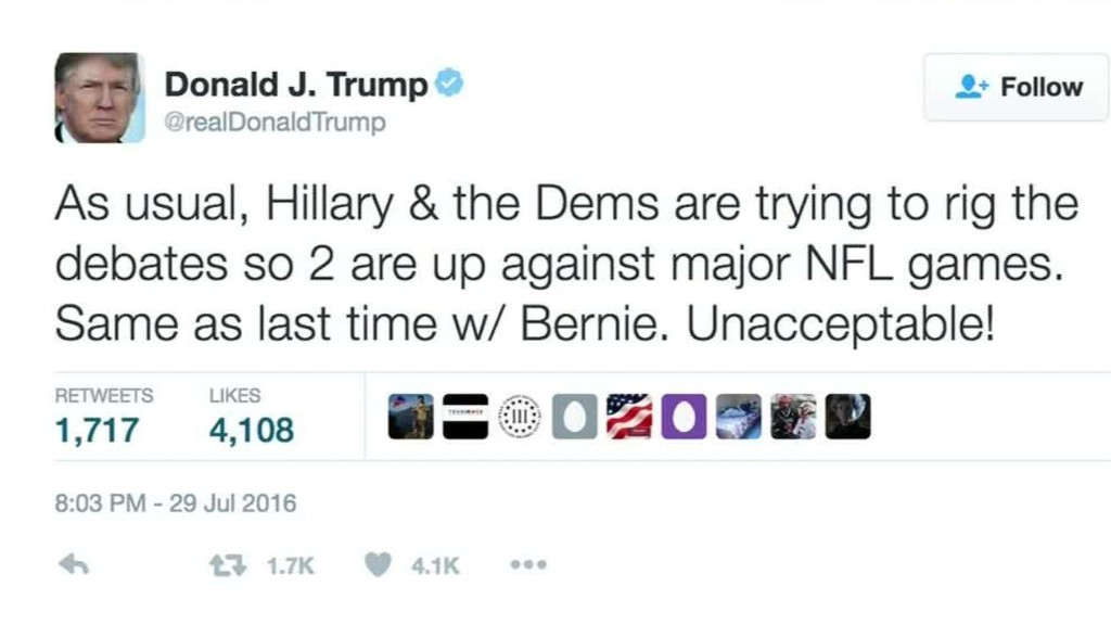 Trump camp accuses Dems of rigging debate dates