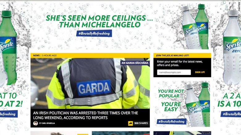 "Sprite's ""Brutally Refreshing"" advertising campaign, which appeared on Irish news site Joe.ie."