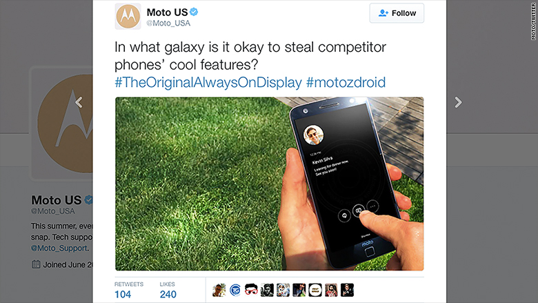 Moto calls out Samsung for 'stealing' its smartphone feature - Aug. 19, 2016