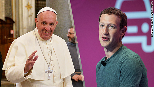 Mark Zuckerberg meets with Pope Francis during Italy trip