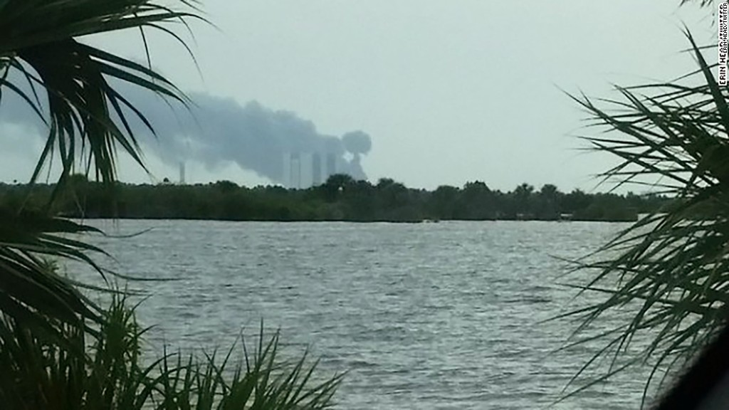 Explosion at SpaceX launch pad at Cape Canaveral
