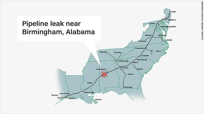 Gasoline Shortages Price Hikes Coming To East Coast After - Map of pipeline bursts in us