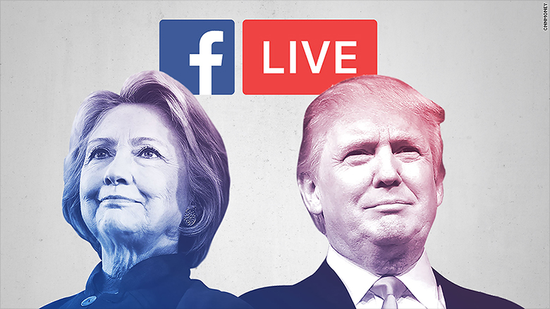 Image result for facebook live debate trump clinton