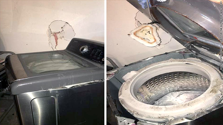 samsung washing machine explodes