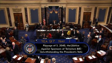 Senate overturns Obama's veto of 9/11 bill