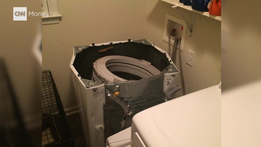 What it looks like when a Samsung washing machine explodes