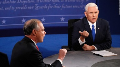 Mike Pence, Tim Kaine bring contrasting styles to feisty VP debate