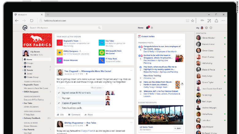 facebook workplace screen
