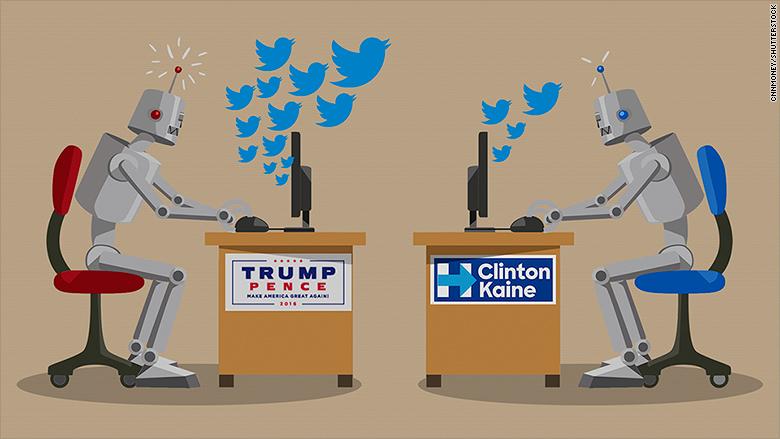 trump hillary tweet bots